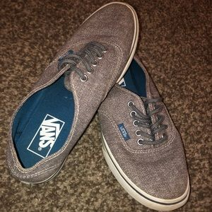 Gray/ Taupe Vans with Blue Soles!